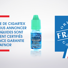 Concept pour la franchise Cigartex - Les eliquides de CIGARTEX sont officiellement Labellisés: Origine France Garantie.